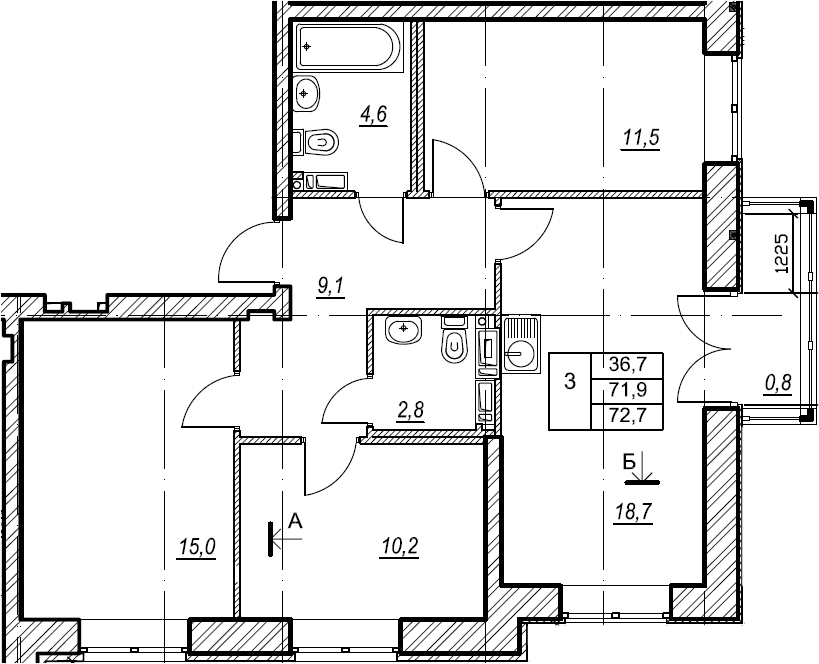 3-к.кв, 72.7 м²