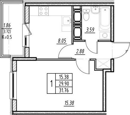 1-к.кв, 33.62 м²