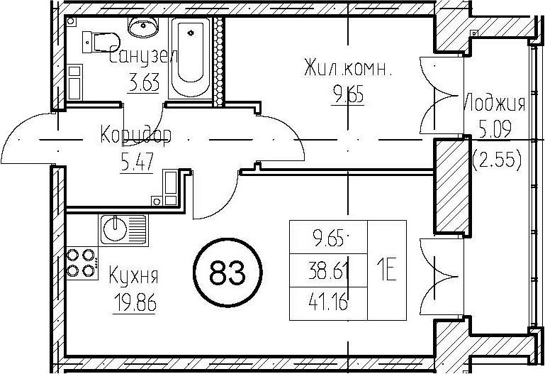 1-к.кв, 43.71 м²