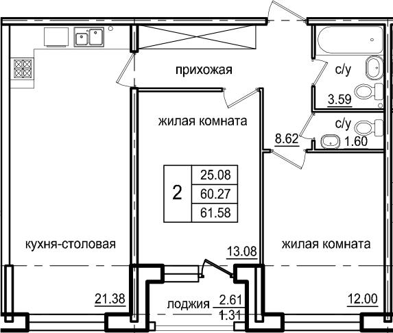 2-к.кв, 62.89 м²
