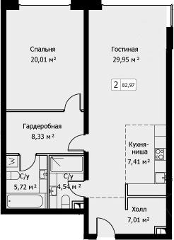 2Е-комнатная, 82.97 м²– 2