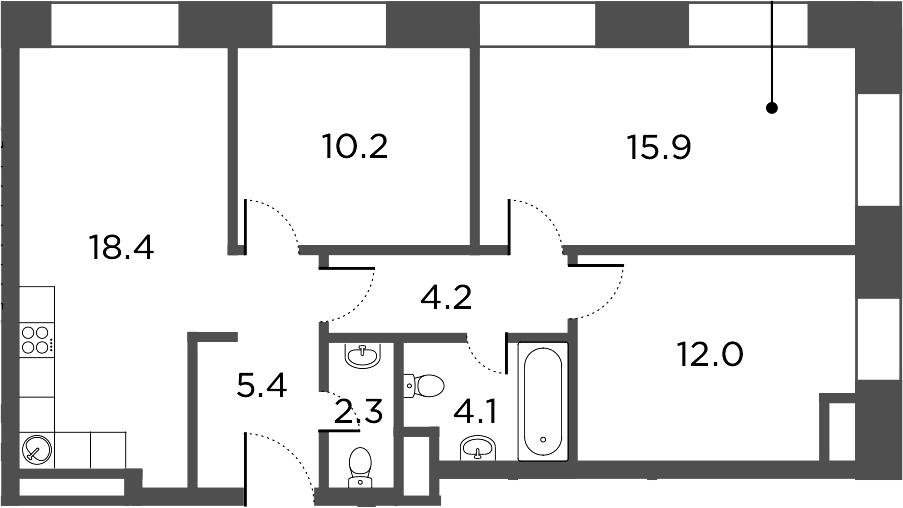 4-к.кв (евро), 72.5 м²