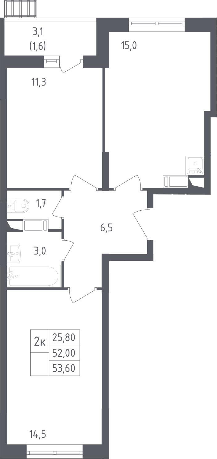 3-к.кв (евро), 55.4 м²