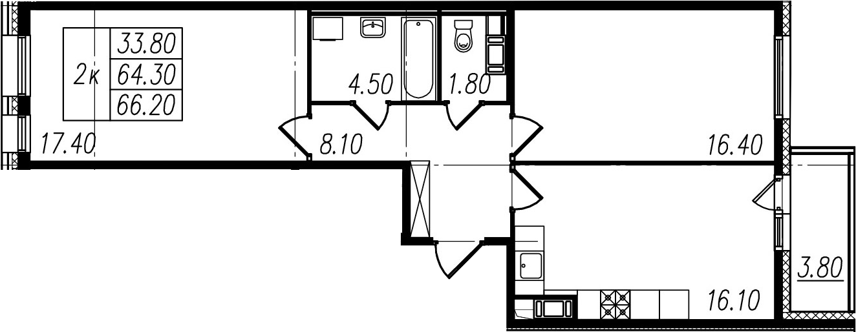 2-к.кв, 64.3 м²
