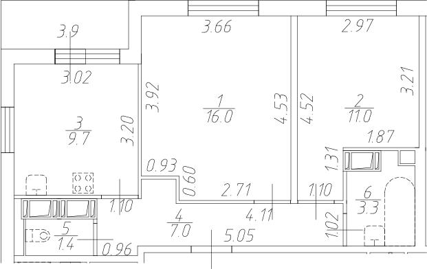 2-к.кв, 52.3 м²