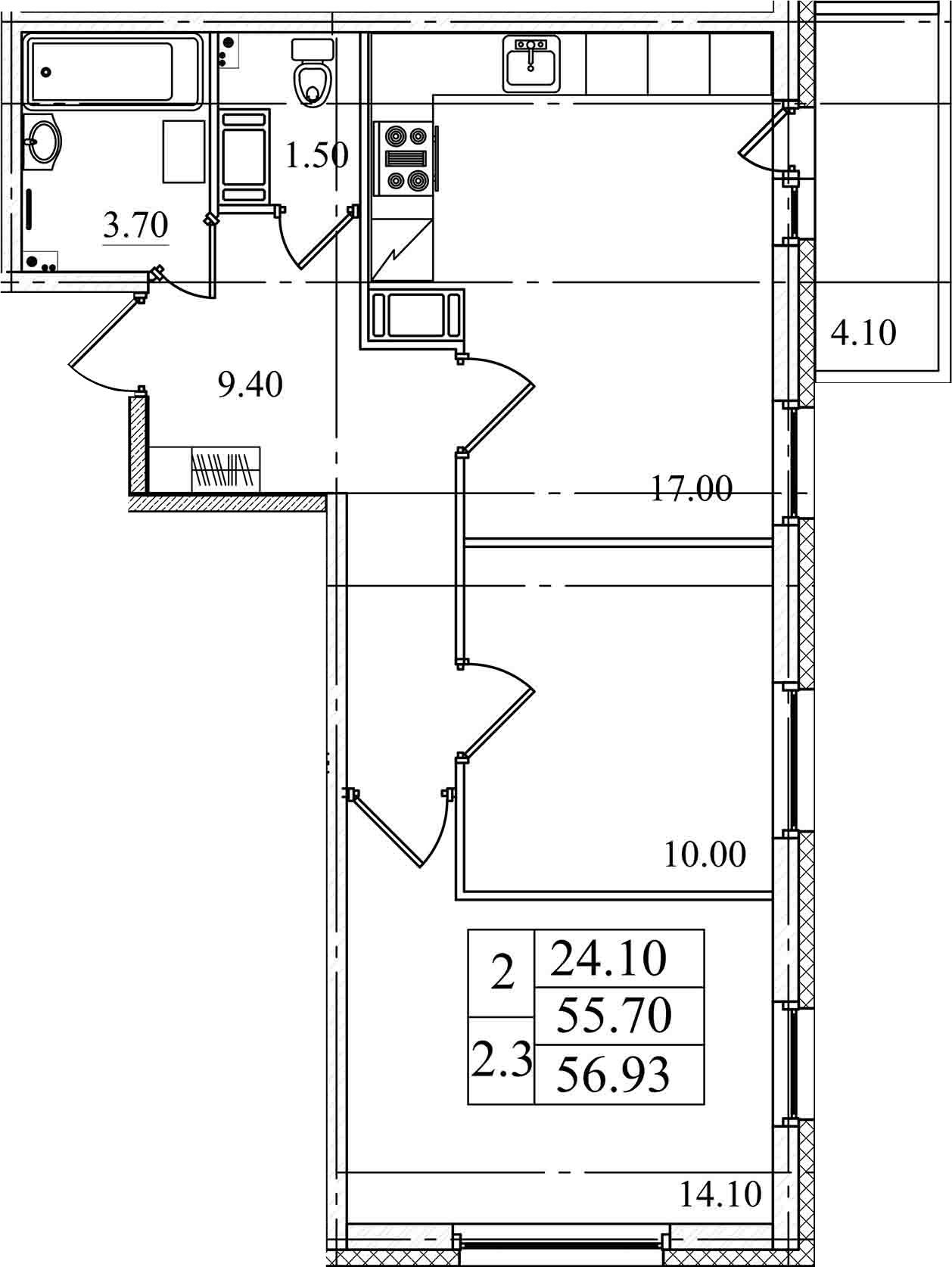 3-к.кв (евро), 59.8 м²