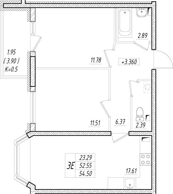 3-к.кв (евро), 56.45 м²