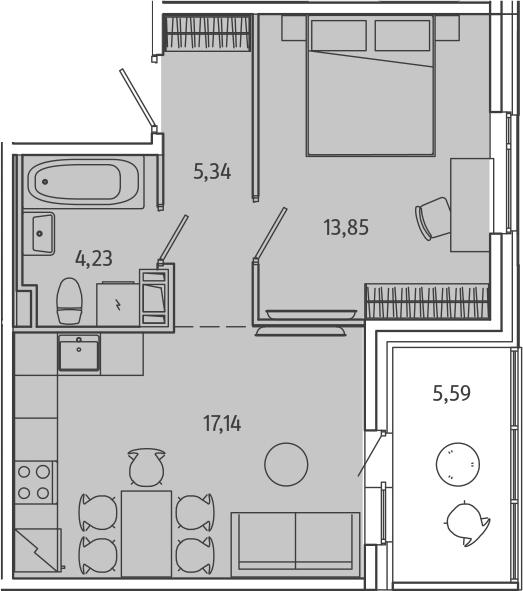 2-к.кв (евро), 46.15 м²