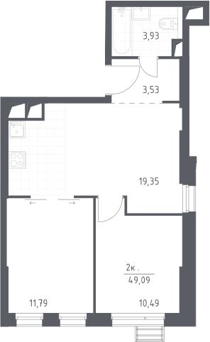 3Е-комнатная, 49.09 м²– 2