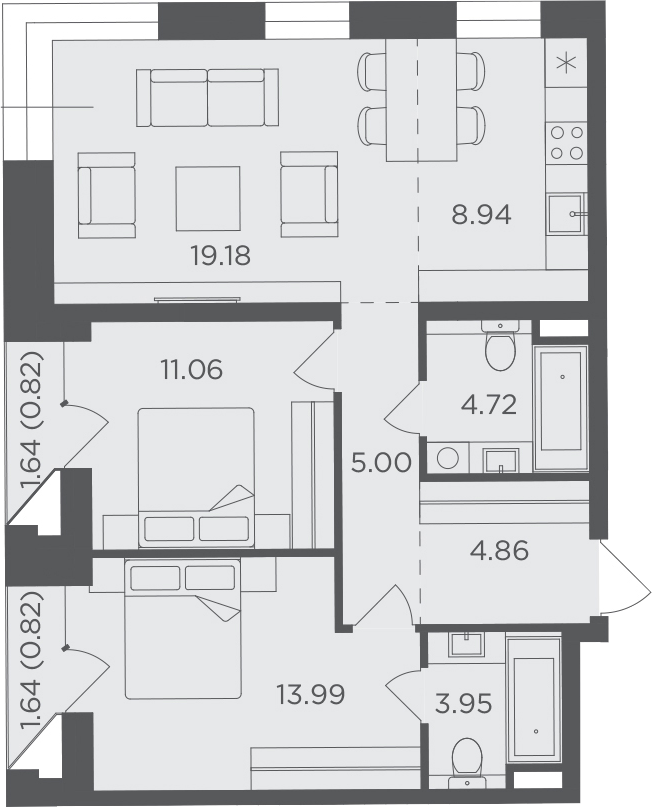 3Е-к.кв, 73.34 м², 6 этаж
