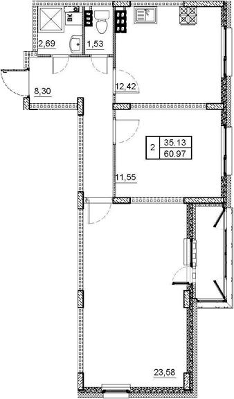 2-комнатная, 60.97 м²– 2