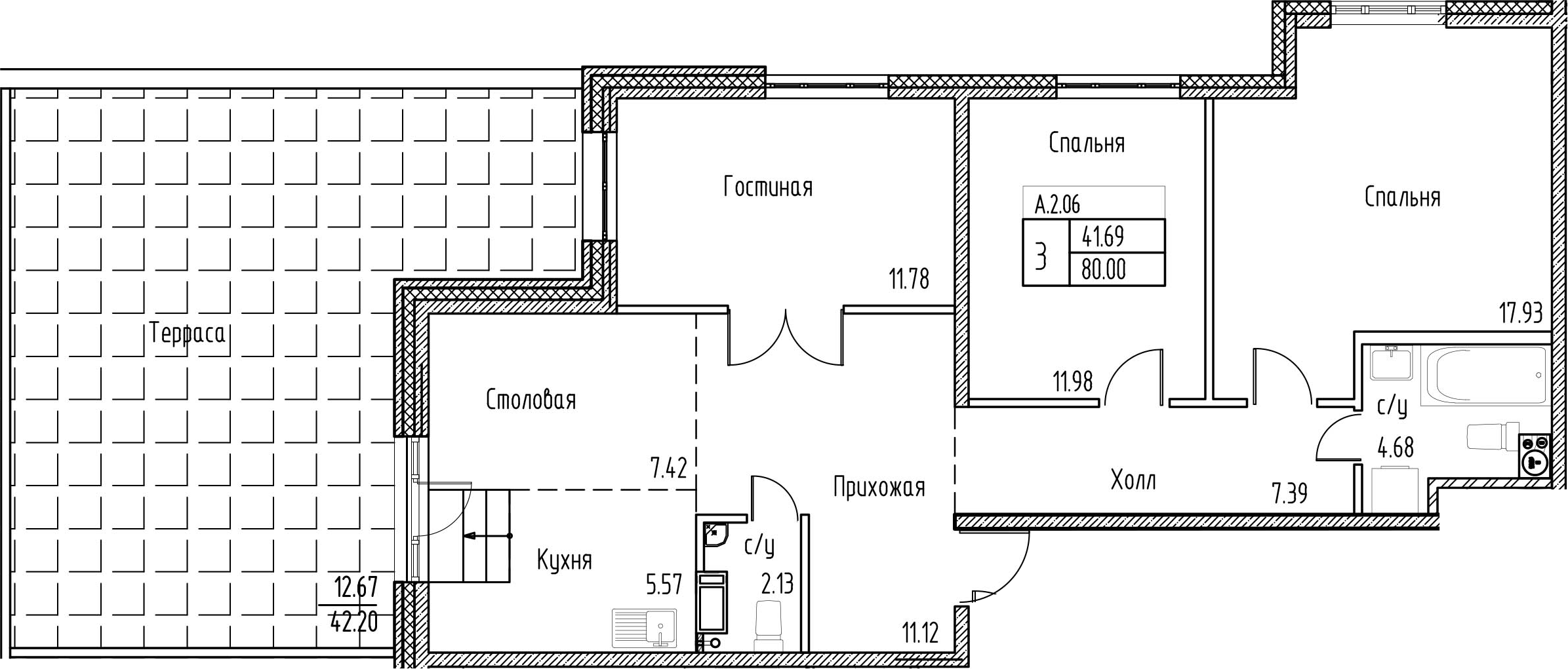 3-к.кв, 122.2 м²