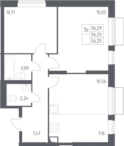 3Е-к.кв, 56.25 м², 2 этаж
