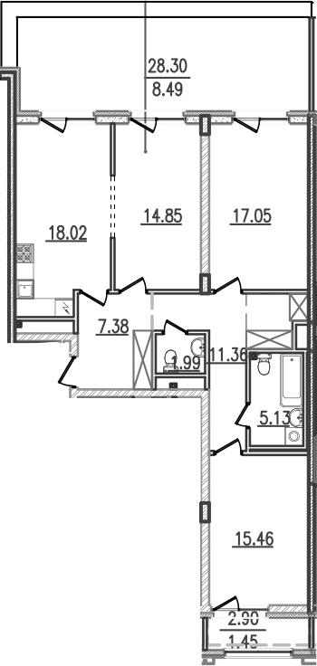 4-к.кв (евро), 122.44 м²