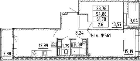 2-к.кв, 54.86 м²