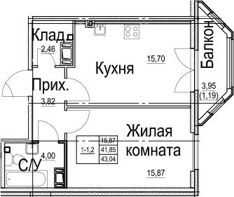 1-к.кв, 45.82 м²