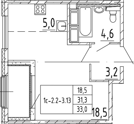 Студия, 33 м², от 7 этажа