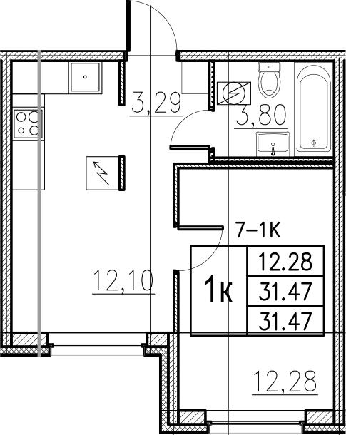 1-комнатная, 31.47 м²– 2