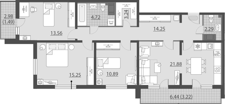 4-к.кв (евро), 95.5 м²