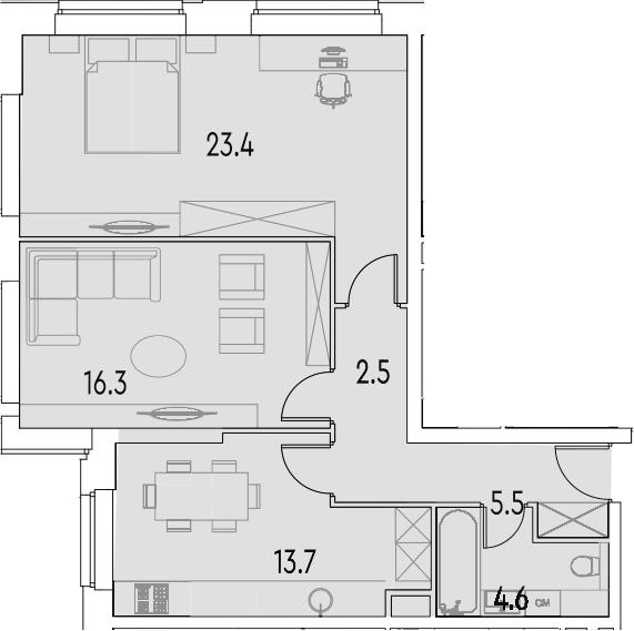 2-к.кв, 66 м²