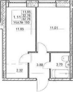 1-к.кв, 32.76 м²