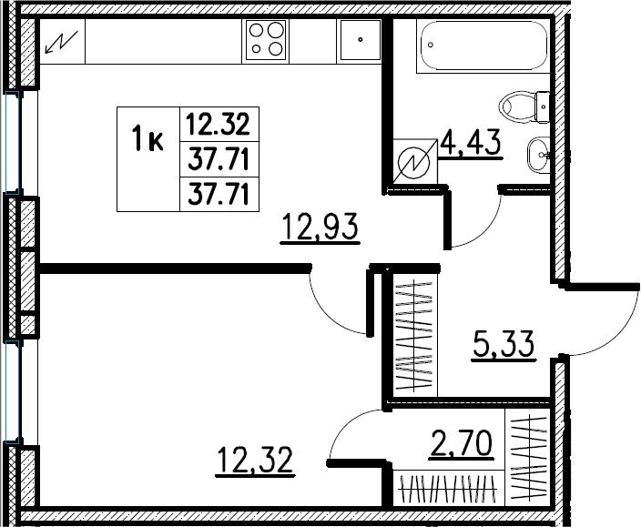 2Е-комнатная, 37.71 м²– 2