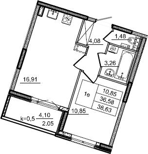 2Е-к.кв, 38.63 м², 2 этаж