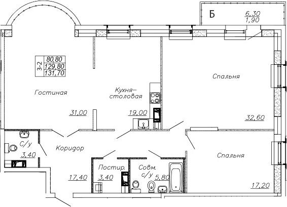 4-к.кв (евро), 136.13 м²