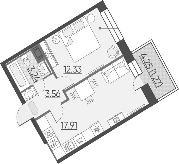 2Е-к.кв, 38.31 м²
