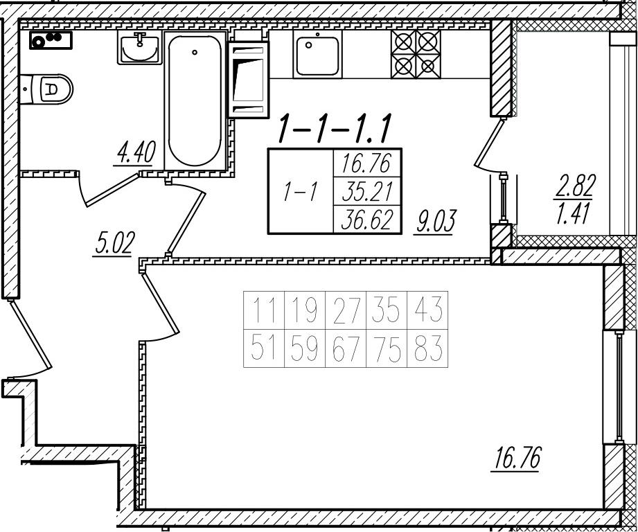 1-к.кв, 36.62 м², 8 этаж