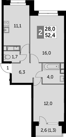 2-комнатная квартира, 52.4 м², 14 этаж – Планировка