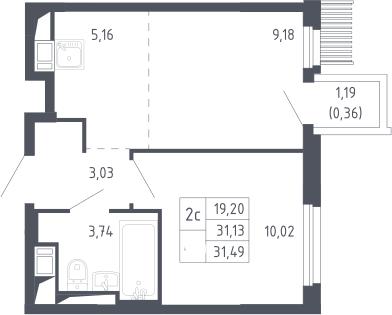 2Е-к.кв, 31.49 м², 17 этаж