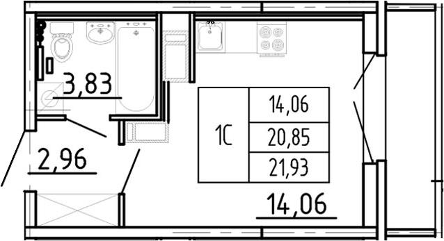 Студия, 21.93 м²– 2