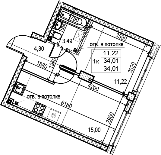 2Е-к.кв, 34.01 м²