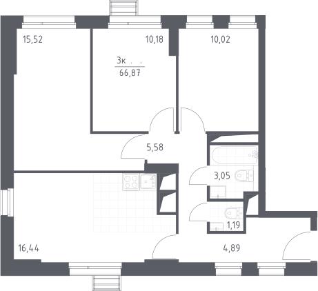 4Е-к.кв, 66.87 м², от 17 этажа