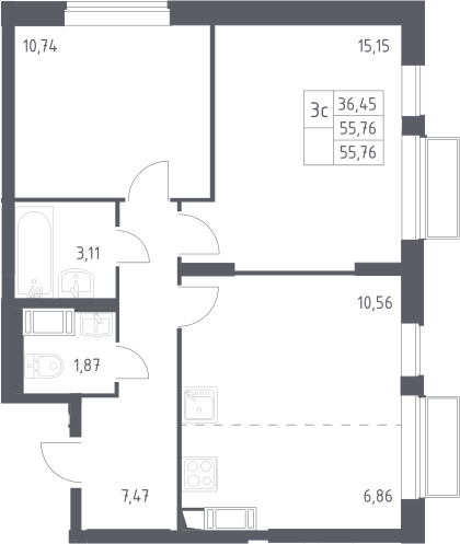 3Е-к.кв, 55.76 м², 25 этаж