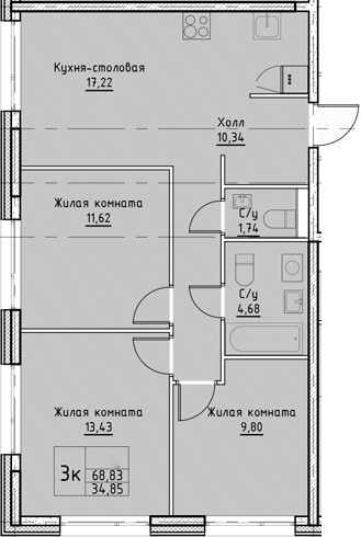 4Е-к.кв, 68.83 м²