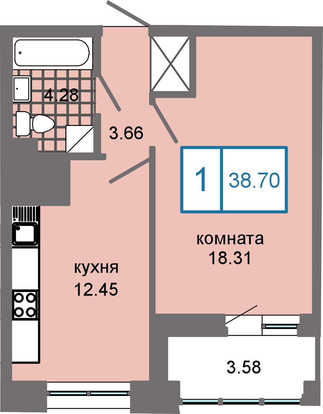 1-к.кв, 42.28 м²