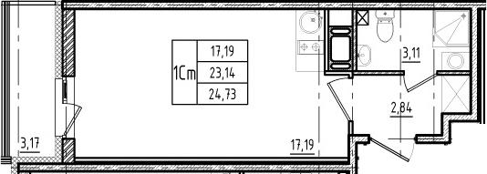 Студия, 23.14 м²– 2