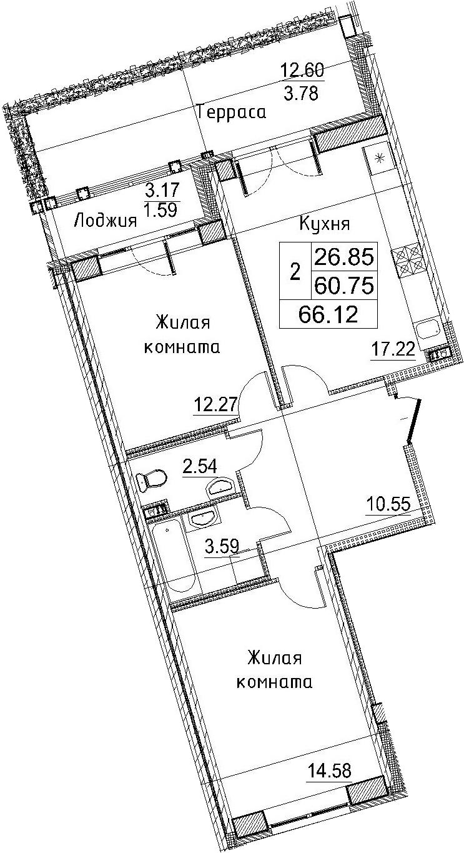 3-к.кв (евро), 76.53 м²