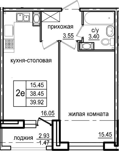 2Е-к.кв, 39.92 м², 7 этаж