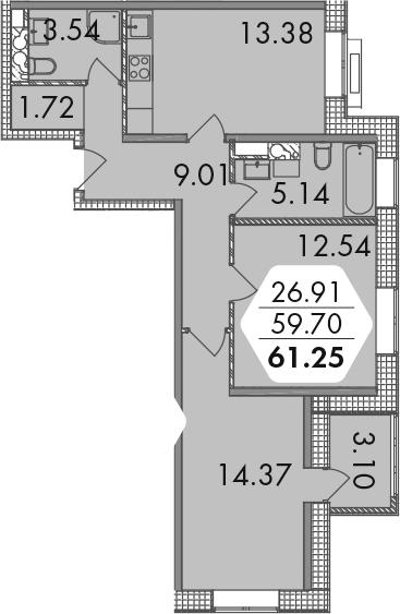 2-к.кв, 61.25 м²