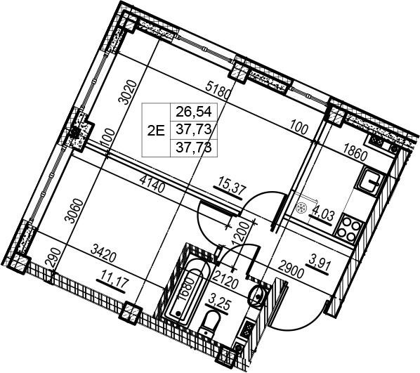 2Е-к.кв, 37.73 м²