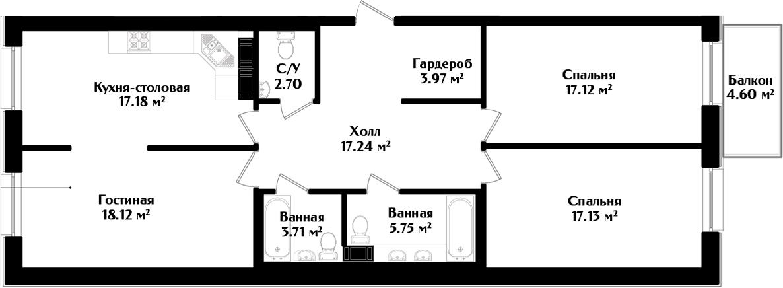 4-к.кв (евро), 107.52 м²