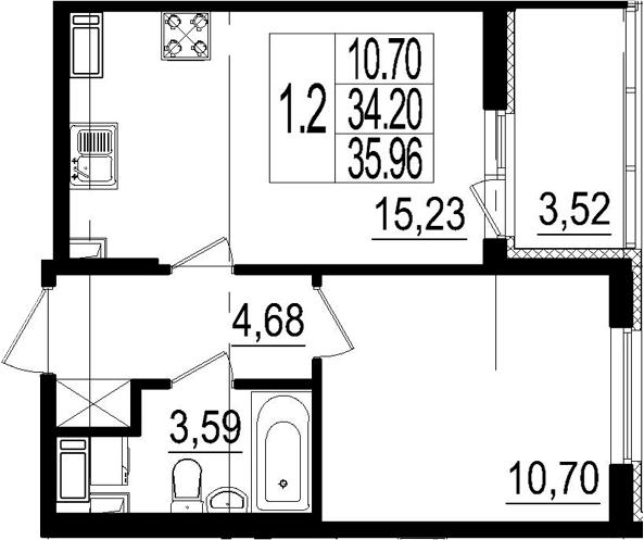 2Е-к.кв, 34.2 м², 3 этаж