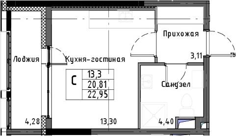 Студия, 25.09 м²