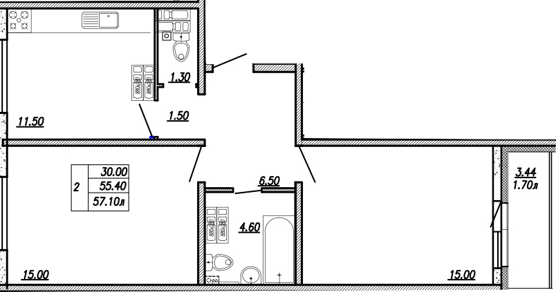 2-к.кв, 58.8 м²