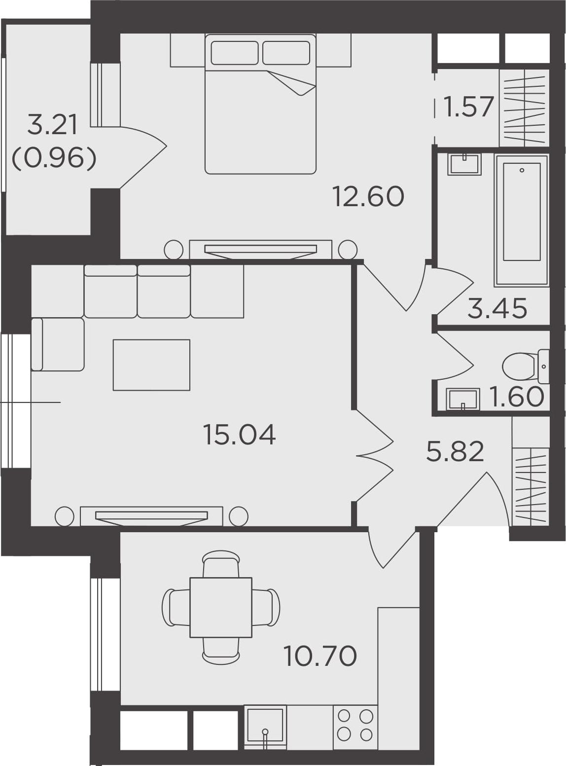 2-к.кв, 51.74 м²