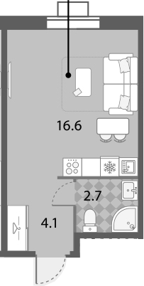 Студия, 23.4 м²– 2