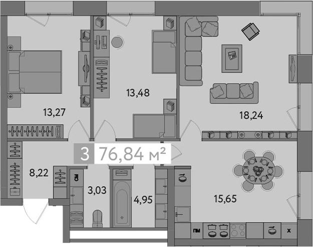 4-к.кв (евро), 76.84 м²